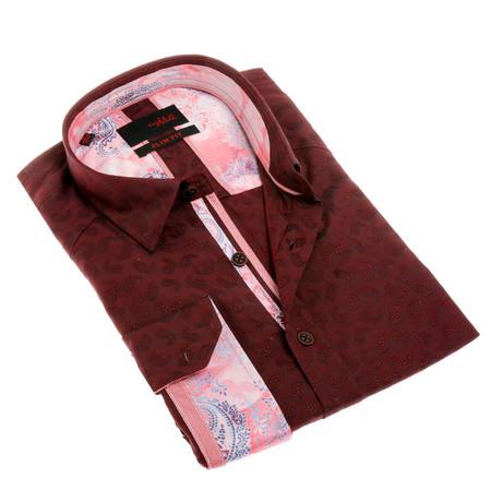 Jake Print Button-Up Shirt // Bordeaux (S)