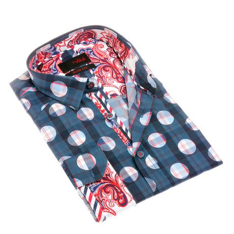 Jarrod Print Button-Up Shirt // Navy (S)