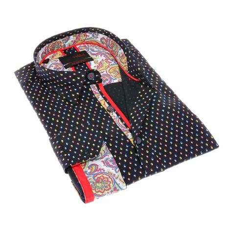 Jeromy Print Button-Up Shirt // Navy (S)