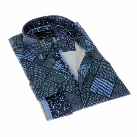 Mark Print Button-Up Shirt // Navy (S)