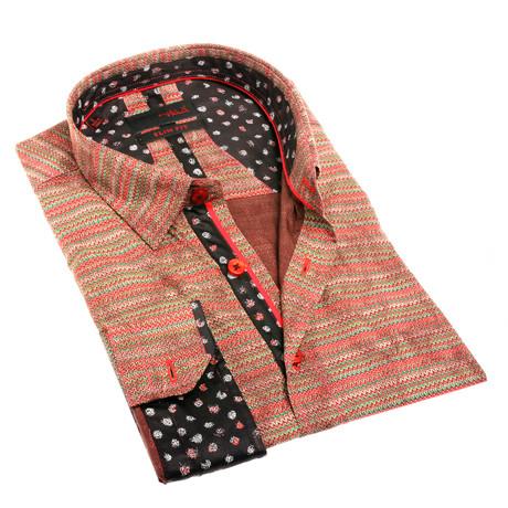 Clair Print Button-Up Shirt // Brown (S)