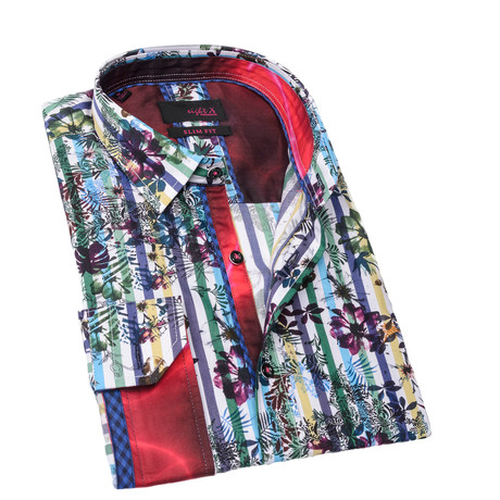 Stacy Print Button-Up Shirt // Green (S)