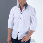 Marc Button-Up Shirt // White + Dark Blue (Small)
