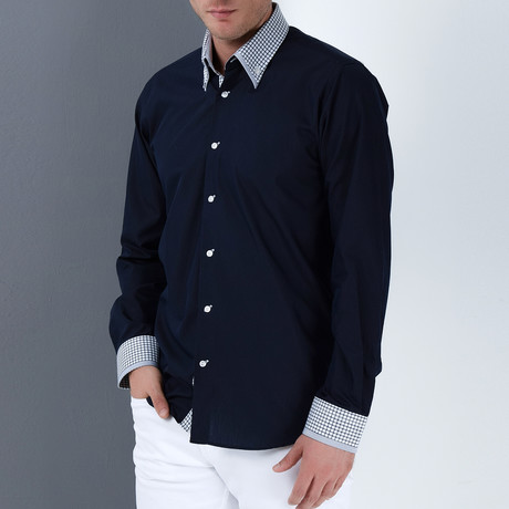 Marc Button-Up Shirt // Dark Blue + White (Small)