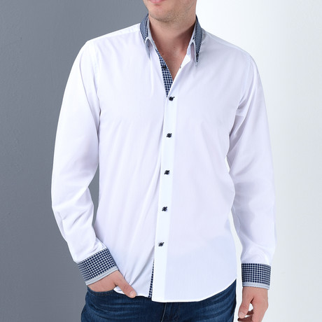 Marc Button-Up Shirt // White + Dark Blue (Medium)