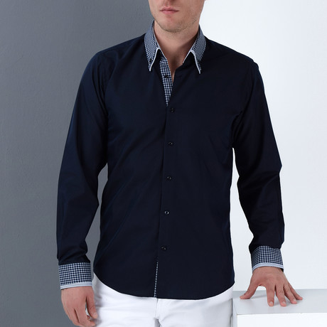 Marc Button-Up Shirt // Dark Blue + Blue (Small)