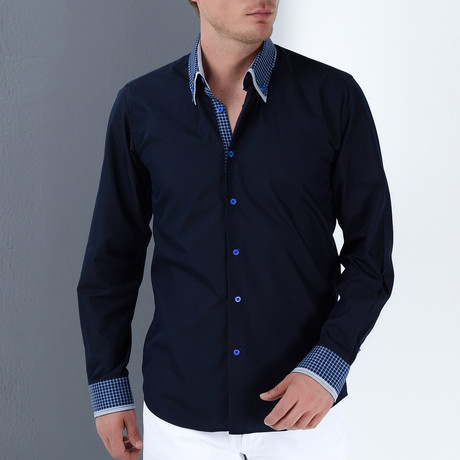 William Button-Up Shirt // Dark Blue + Sax (Small)