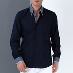 Marc Button-Up Shirt // Dark Blue + Blue (2XL)