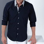 Marc Button-Up Shirt // Dark Blue + White (3X-Large)