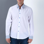 Marc Button-Up Shirt // White + Blue (Small)
