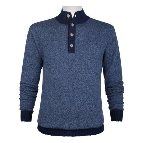Long-Sleeve Mock Neck Sweater // Night Blue (S)