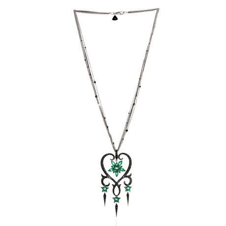 Stephen Webster Belle Epoque 18k White Gold Diamond + Emerald Statement Necklace