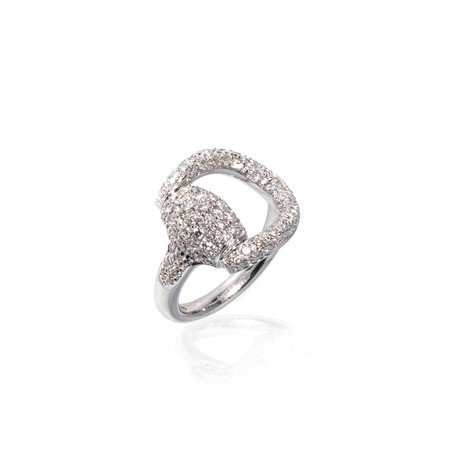 Gucci Horsebit 18k White Gold Statement Ring // Ring Size: 6.25