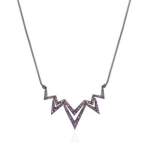 Stephen Webster Lady Stardust 18k White Gold Amethyst + Sapphire Necklace