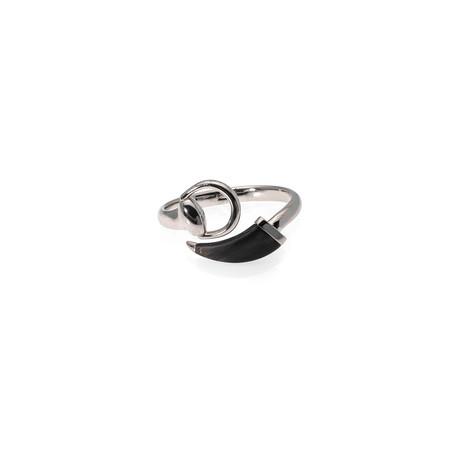 Gucci Horsebit Sterling Silver + Wood Bangle Bracelet