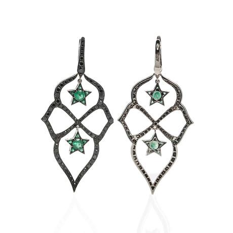 Stephen Webster Belle Epoque 18k White Gold Diamond + Emerald Dangle Earrings