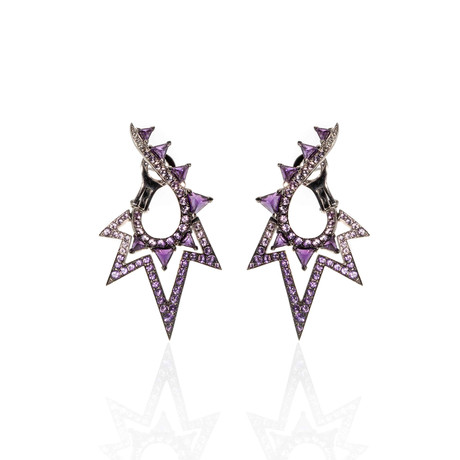 Stephen Webster Lady Stardust 18k White Gold Amethyst + Diamond Statement Earrings