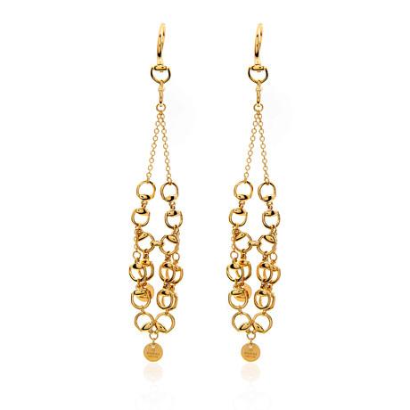 Gucci Horsebit 18k Yellow Gold Dangle Earrings