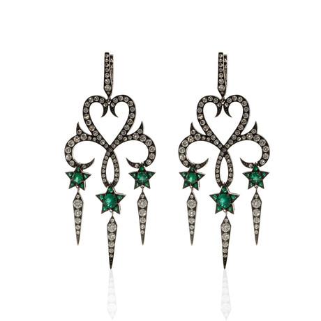 Stephen Webster Belle Epoque 18k White Gold Diamond + Emerald Statement Earrings