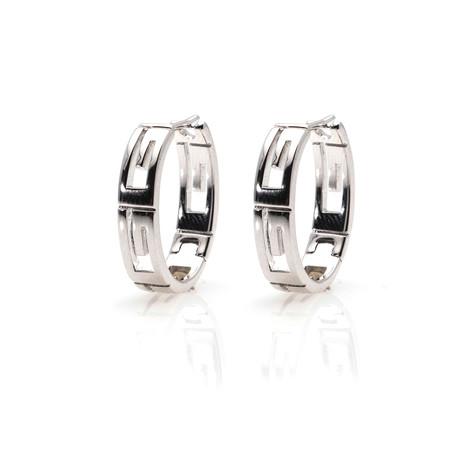 Gucci 18k White Gold Hoop Earrings