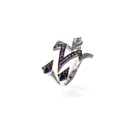 Stephen Webster Lady Stardust 18k White Gold Diamond + Sapphire Statement Ring // Ring Size: 6.25