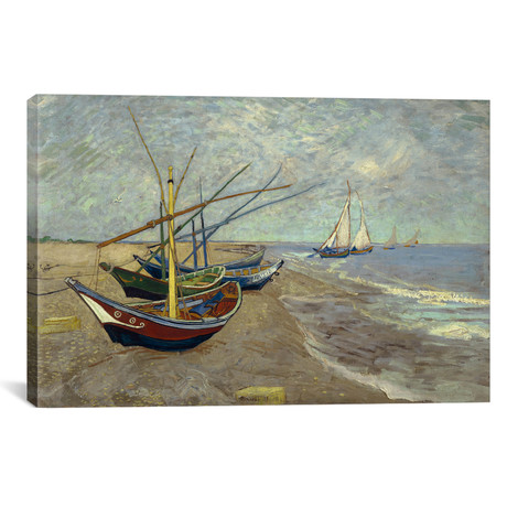 "Fishing Boats on the Beach at les Saintes Maries de la Mer // Vincent van Gogh // 1888 (26""W x 18""H x 0.75""D)"