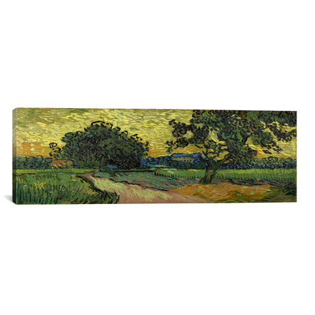 "Landscape at Twilight // Vincent van Gogh // 1890 (36""W x 12""H x 0.75""D)"