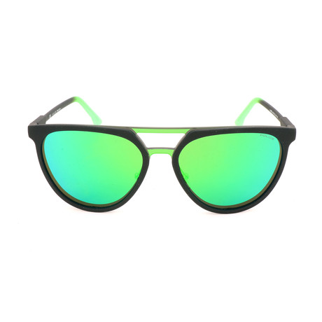 Police Men's Sunglasses // SPL586M // Green + Shiny Black