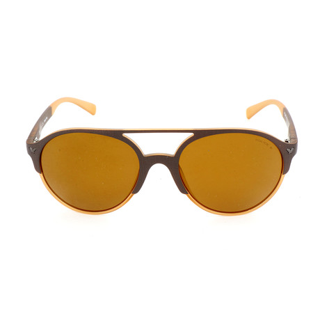 Police Men's Sunglasses // SPL163M // Semi-Matte Brown + Yellow