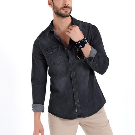 Denim Button-Up Shirt // Gray (S)
