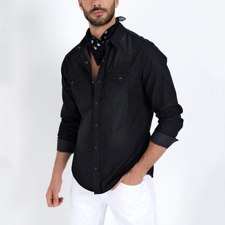Denim Button-Up Shirt // Black (S)