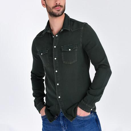 Denim Button-Up Shirt // Khaki (S)