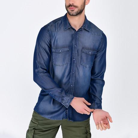 Denim Button-Up Shirt II // Dark Blue (S)