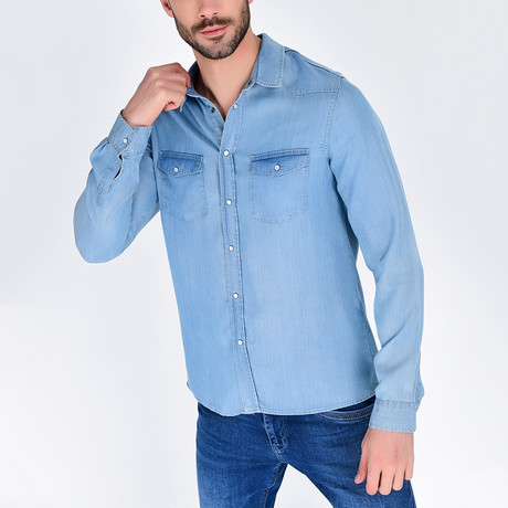 Denim Button-Up Shirt // Blue (S)