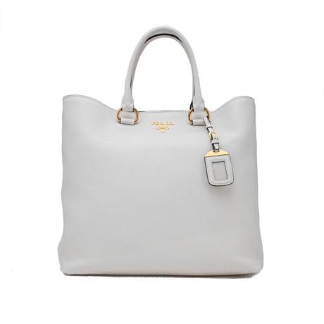 Prada // Vitello Phenix Leather Large Tote Handbag // White