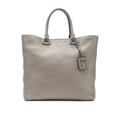 Prada // Vitello Phenix Leather Large Tote Handbag // Gray
