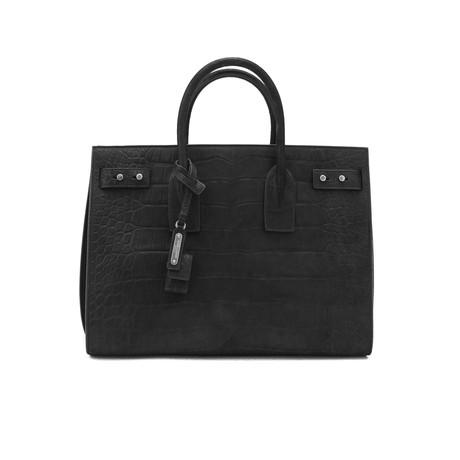 Saint Laurent // Soft Leather Sac De Jour Croc Embossed Medium Tote Handbag // Black