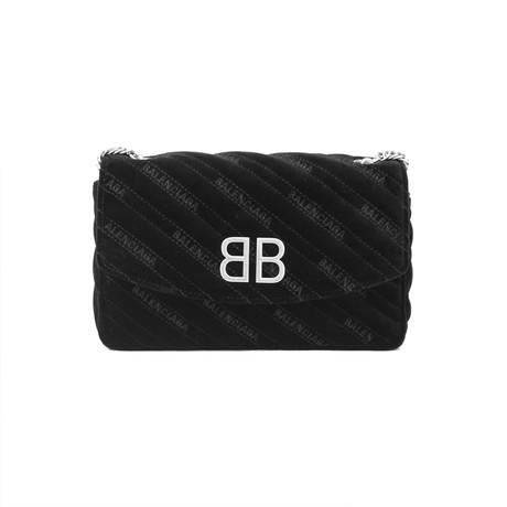 Balenciaga // Quilted Velvet Bb Crossbody Wallet On Chain Bag // Black