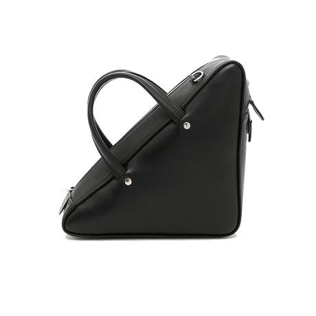 Balenciaga // Calfskin Leather Triangle Duffle Shoulder Handbag // Black