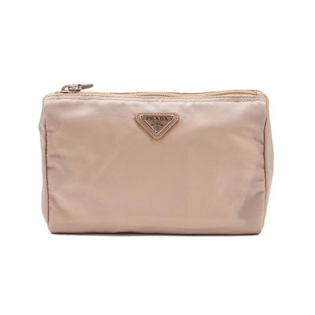 Prada // Nylon Cosmetic Bag // // Tan