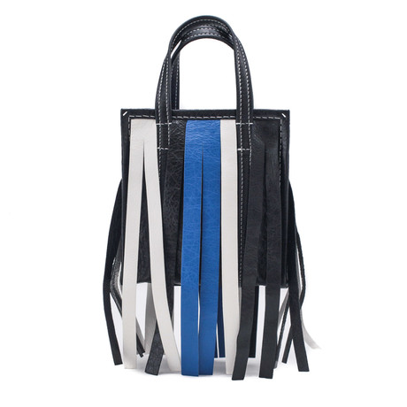 Balenciaga // Lambskin Leather XXS Bazar Fringe Shopper Handbag // Black