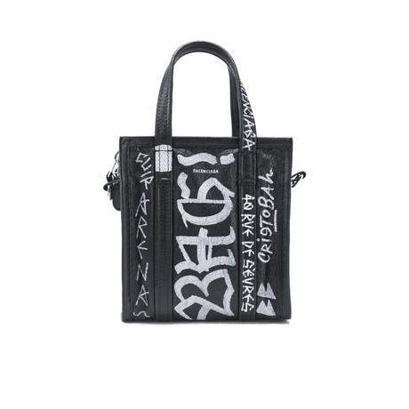 Balenciaga // Lambskin Leather XXS Bazar Graffiti Shopper Handbag // Black