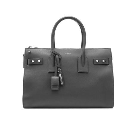 Saint Laurent // Grained Leather Sac De Jour Zipped Small Tote Handbag // Black
