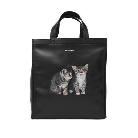 Balenciaga // Calfskin Leather Kitten Market Shopper Tote Handbag // Black