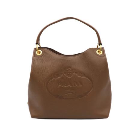 Prada // Vitello Phenix Leather Tote Handbag // Brown