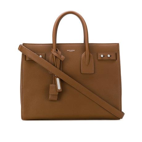 Saint Laurent // Grained Leather Sac De Jour Medium Tote Handbag // Brown