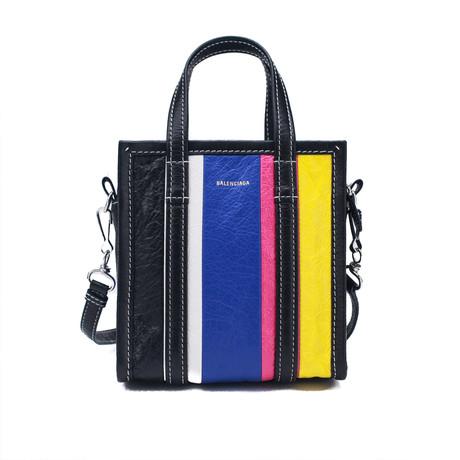 Balenciaga // Lambskin Leather XXS Bazar Shopper Handbag // Multicolor Striped