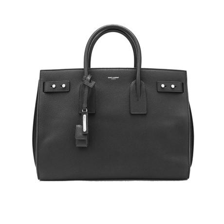 Saint Laurent // Grained Leather Sac De Jour Medium Tote Handbag // Black