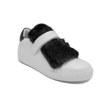 Moncler // Leather Lucie Fur Sneaker // White + Black (US: 7)