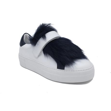 Moncler // Leather Victoire Fur Sneaker // White + Blue (US: 5)